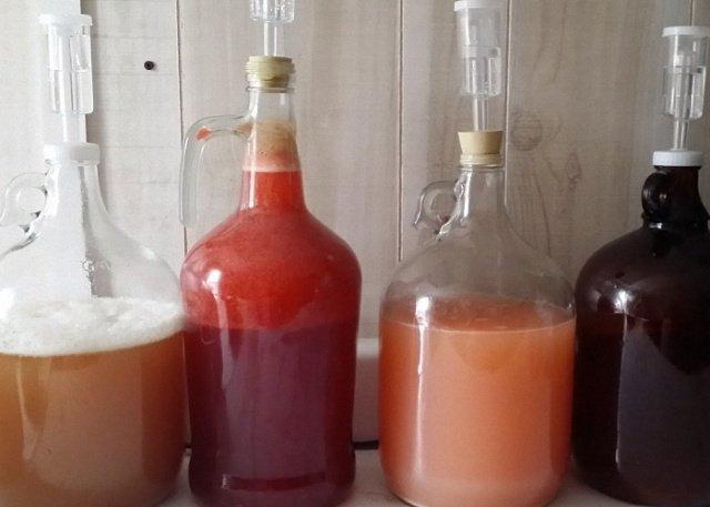 Брожение в бутылях разных вин