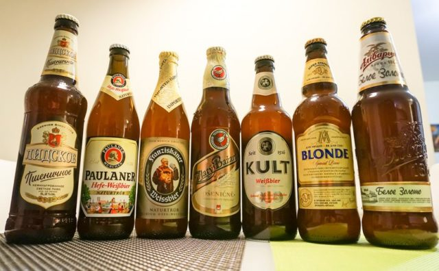 Бутылки с пшеничным пивом
