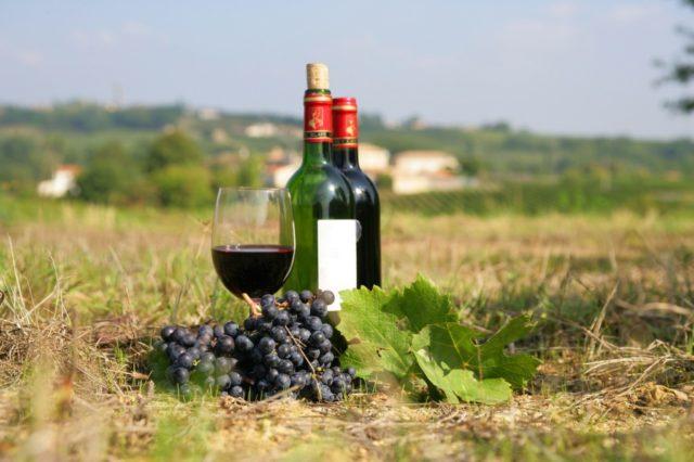 две бутылки вина и стакан на земле