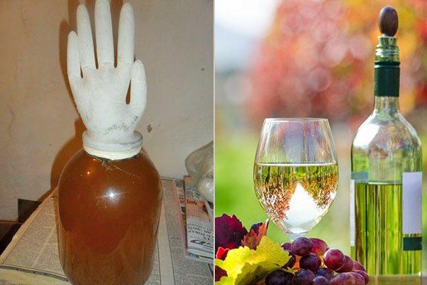 бутыль с перчаткой - домашнее шампанское