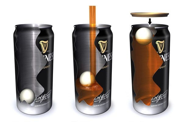 Банка пива Guinness с азотной капсулой в разрезе
