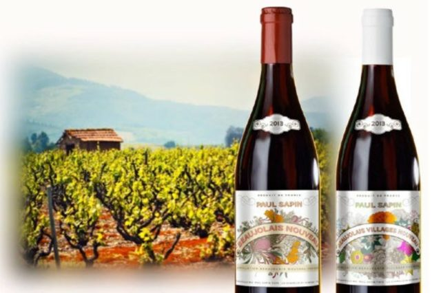 Рисунок: вино Beaujolais nouveau на фоне виноградника